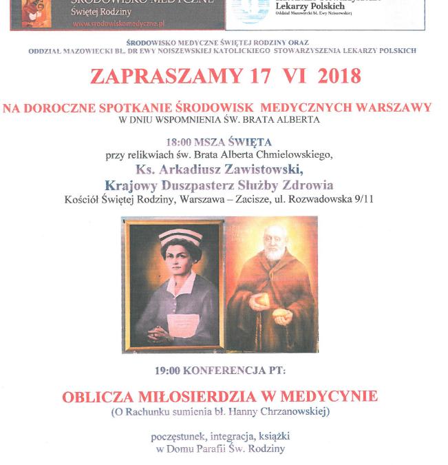 Doroczne spotkanie środowisk medycznych Warszawy 17.VI.2018