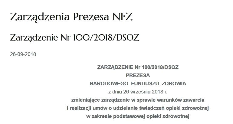 Zarządzenie nr 100/2018/DSOZ Prezesa Narodowego Funduszu Zdrowia