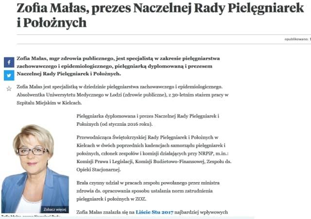Prezes Naczelnej Rady Pielęgniarek i Położnych wśród najbardziej wpływowych osób w polskiej medycynie i systemie ochrony zdrowia  w Polsce.