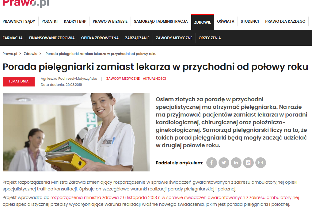 Porada pielęgniarki zamiast lekarza wprzychodni odpołowy roku