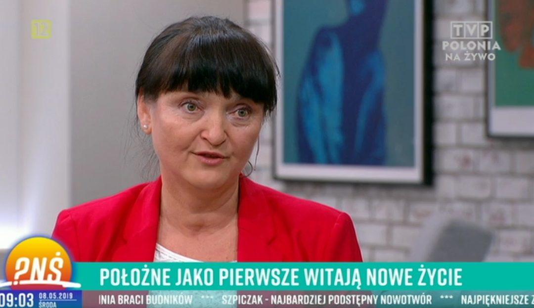 """Ewa Janiuk Wiceprezes NRPiP w """"Pytaniu na śniadanie"""" o Dniu Położnych 8 maja."""