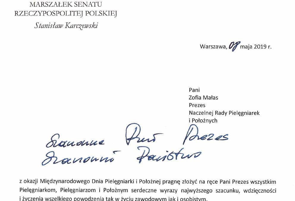 Życzenia Marszałka Senatu Stanisława Karczewskiego z okazji dnia Położnej i Międzynarodowego Dnia Pielęgniarek