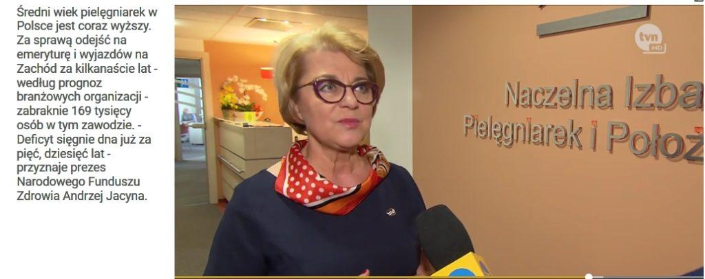 Prezes Zofia Małas w Faktach TVN mówiła o bezpieczeństwie pracy pielęgniarek i położnych