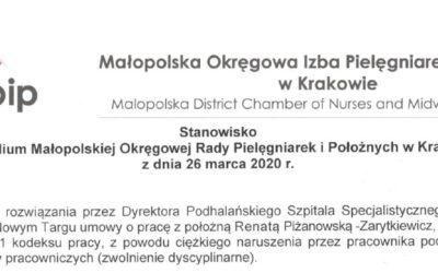 Stanowisko Prezydium MOiPiP w sprawie dyscyplinarnego zwolnienia położnej przez Dyrektora Podhalańskiego Szpitala Specjalistycznego im. Jana Pawła II w Nowym Targu
