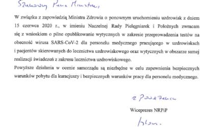 NRPiP zwraca się zwnioskiem opilne opublikowanie wytycznych wzakresie przeprowadzenia testów naobecność wirusa SARS-CoV-2 dla personelu medycznego pracującego wuzdrowiskach ipacjentów skierowanych dolecznictwa uzdrowiskowego