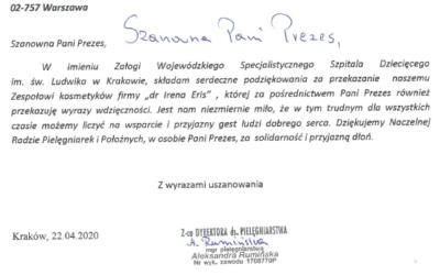 Podziękowania zaprzekazaną pomoc odpracowników Wojewódzkiego Specjalistycznego Szpitala Dziecięcego im.św.Ludwika wKrakowie