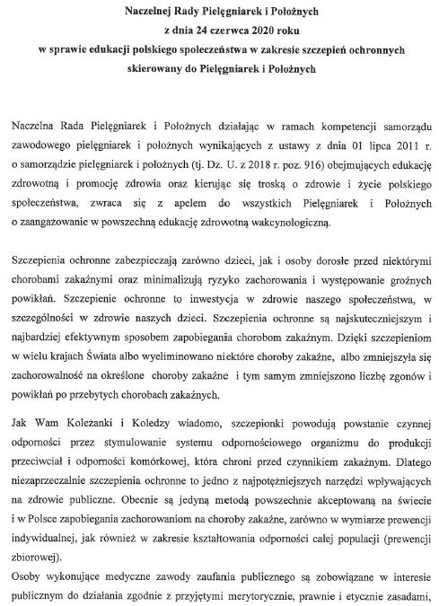 Apel NRPiP zdnia 24 czerwca 2020 r. wsprawie edukacji polskiego społeczeństwa wzakresie szczepień ochronnych skierowany doPielęgniarek iPołożnych