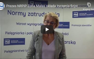 Prezes NRPiP Zofia Małas składa życzenia fizjoterapeutom