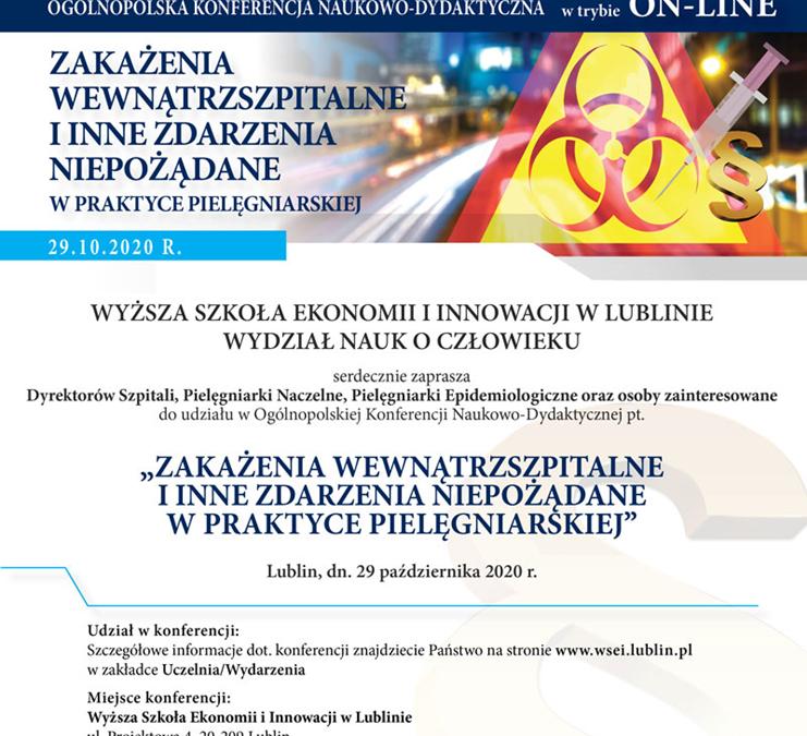 """""""Zakażenia Wewnątrzszpitalne iInne Zdarzenia Niepożądane wPraktyce Pielęgniarskiej. 29 października 2020 r. 10.00"""