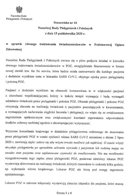 Stanowisko nr44  Naczelnej Rady Pielęgniarek iPołożnych  zdnia 15 października 2020 r.    wsprawie równego traktowania świadczeniodawców wPodstawowej Opiece Zdrowotnej
