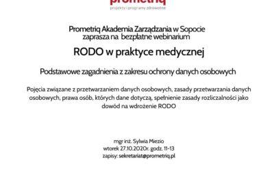 """Prometriq Akademia Zarządzania zaprasza pracowników podmiotów medycznych nabezpłatne webinarium """"RODO wpraktyce medycznej"""".  27.10.2020 godz.11-13."""