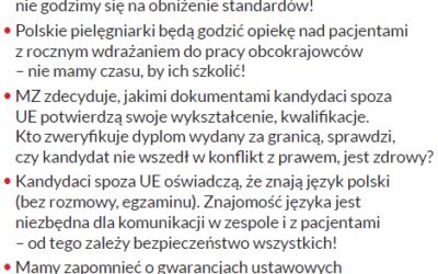 """Naczelna Rada Pielęgniarek iPołożnych alarmuje Nowy pomysł Rządu na""""import"""" medyków spoza granic Polski torealne zagrożenie dla życia izdrowia pacjentów"""
