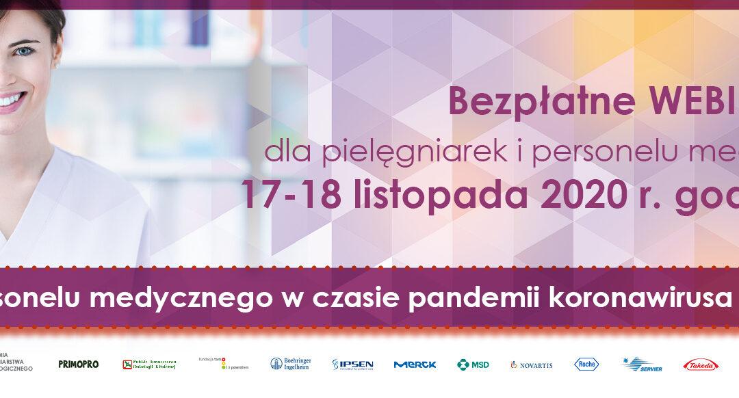 Praca personelu medycznego wczasie pandemii koronawirusa (COVID-19)  Webinarium 17-18 listopada 2020 r.