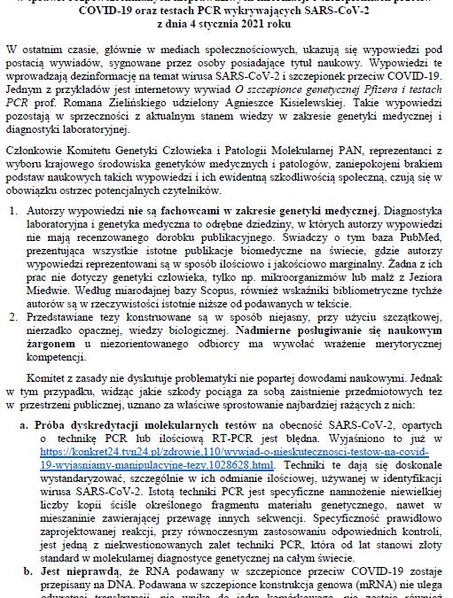 STANOWISKO Komitetu Genetyki Człowieka iPatologii Molekularnej PAN wsprawie rozpowszechnianych nieprawdziwych informacji oszczepionkach przeciw COVID-19 oraztestach PCR wykrywających SARS-CoV-2 zdnia 4 stycznia 2021 roku