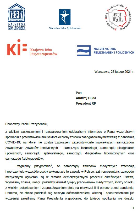 Wspólny list samorządów zawodowych skierowany doPrezydenta RP