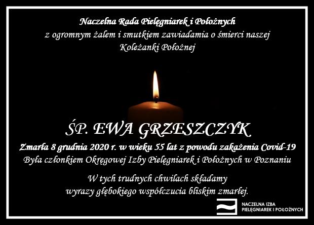 ŚP. Ewa Grzeszczyk zmarła 8 grudnia 2020 r. wwieku 55 lat zpowodu zakażenia Covid-19 (OIPiP wPoznaniu)