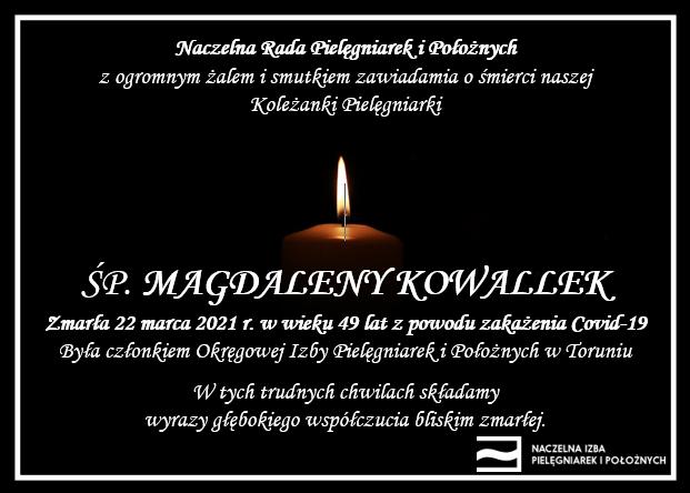ŚP. Magdalena Kowallek zmarła 22 marca 2021 r. wwieku 49 lat zpowodu zakażenia Covid-19 (OIPiP wToruniu)