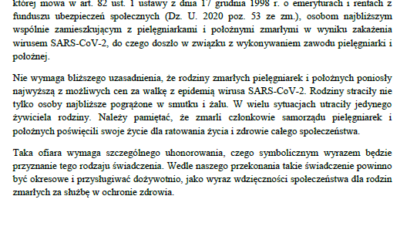 Pismo skierowane doPrezesa Rady Ministrów wsprawie przyznania świadczenia specjalnego rodzinom pielęgniarek ipołożnych, które zmarły wwyniku zakażenia się wirusem SARS-CoV-2 wraz zodpowiedzią.