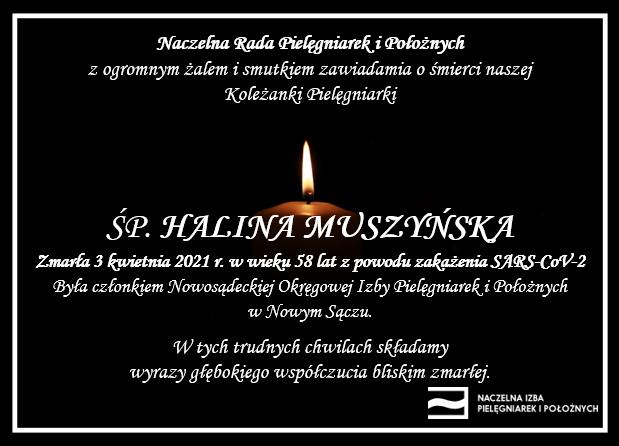 ŚP. Halina Muszyńska zmarła 3 kwietnia 2021 r. wwieku 58 lat zpowodu zakażenia SARS-CoV-2 (OIPiP wNowym Sączu)
