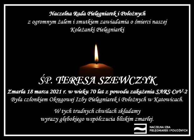 ŚP. Teresa Szewczyk zmarła 18 marca 2021 r. wwieku 70 lat zpowodu zakażenia SARS-CoV-2 (OIPiP wKatowicach)