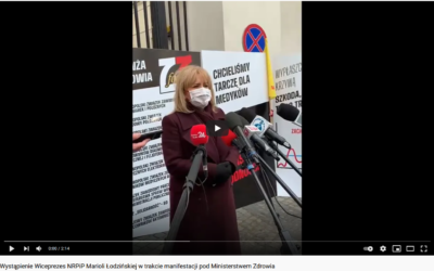 7 kwietnia podMinisterstwem Zdrowia odbyła się manifestacja przedstawicieli zawodów medycznych, aby przypomnieć, żeBEZMEDYKÓW NIEMA LECZENIA.