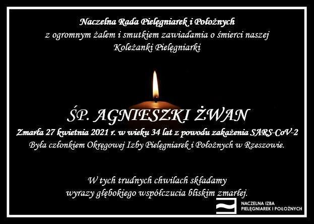 ŚP. Agnieszka Żwan zmarła 27 kwietnia 2021 r. wwieku 34 lat zpowodu zakażenia SARS-CoV-2 (OIPiP wRzeszowie)