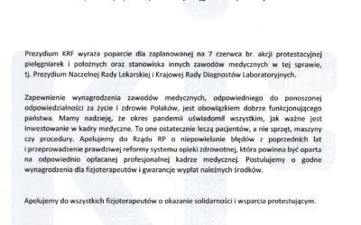 Prezydium Krajowej Rady Fizjoterapeutów popiera zaplanowany na7 czerwca 2021 r. protest pielęgniarek ipołożnych