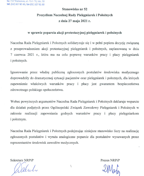 Stanowisko nr52 Prezydium Naczelnej Rady Pielęgniarek iPołożnych zdnia 27 maja 2021 r. wsprawie poparcia akcji protestacyjnej pielęgniarek ipołożnych