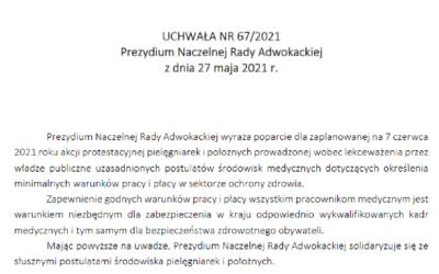 Uchwała Prezydium Naczelnej Rady Adwokackiej zdnia 27 maja 2021 roku stanowiąca wyraz solidarności zpostulatami podnoszonymi przezśrodowisko pielęgniarek ipołożnych