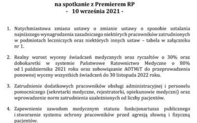Postulaty Ogólnopolskiego Komitetu Protestacyjno-Strajkowego Pracowników Ochrony Zdrowia naspotkanie zPremierem RP – 10 września 2021 r.
