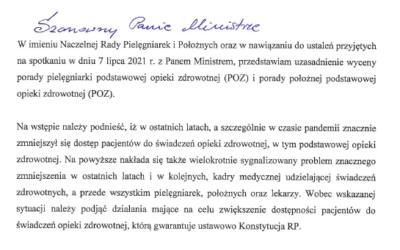 Korespondencja NIPIP zMZ wsprawie wyceny porady pielęgniarki podstawowej opieki zdrowotnej (POZ) iporady położnej podstawowej opieki zdrowotnej (POZ)