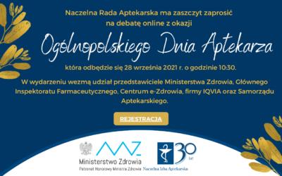 Ogólnopolski Dzień Aptekarza 2021 – zapraszamy dowspólnej debaty!