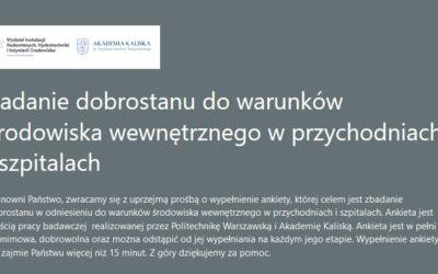 Ankieta – Badanie dobrostanu dowarunków środowiska wewnętrznego wprzychodniach iszpitalach