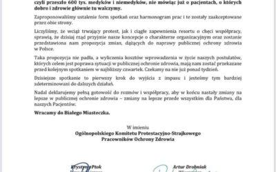 21 września 2021 Ogólnopolski Protest Pracowników Ochrony Zdrowia