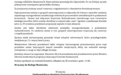 28 września 2021 r. Spotkanie Ogólnopolskiego Komitetu Protestacyjno – Strajkowego zWiceministrem Zdrowia Piotrem Bromberem.