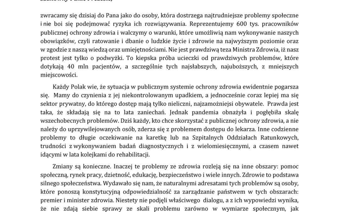 Protest Ochrony Zdrowia ➡ Pismo Komitetu doPrezesa Jarosława Kaczyńskiego – 18.10.2021