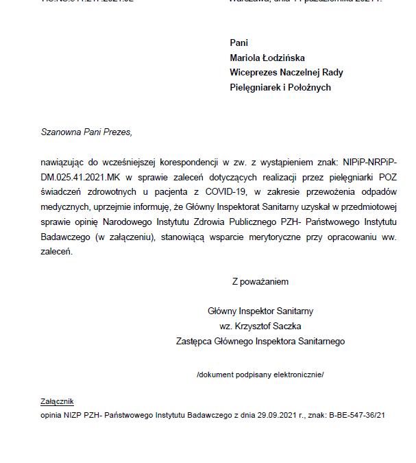 Korespondencja wsprawie zaleceń dotyczących realizacji przezpielęgniarki POZ świadczeń zdrowotnych upacjenta zCOVID-19, wzakresie przewożenia odpadów medycznych.