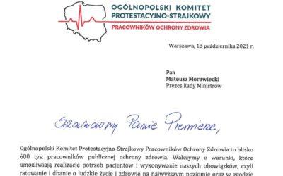 Treść Pisma skierowanego doPrezesa Rady Ministrów zawierającego Porozumienie proponowane przezOgólnopolski Komitet Protestacyjno-Strajkowy Pracowników Ochrony Zdrowia.